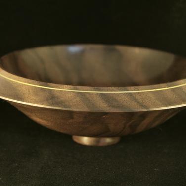 Walnut Bowl with Brass Inlay