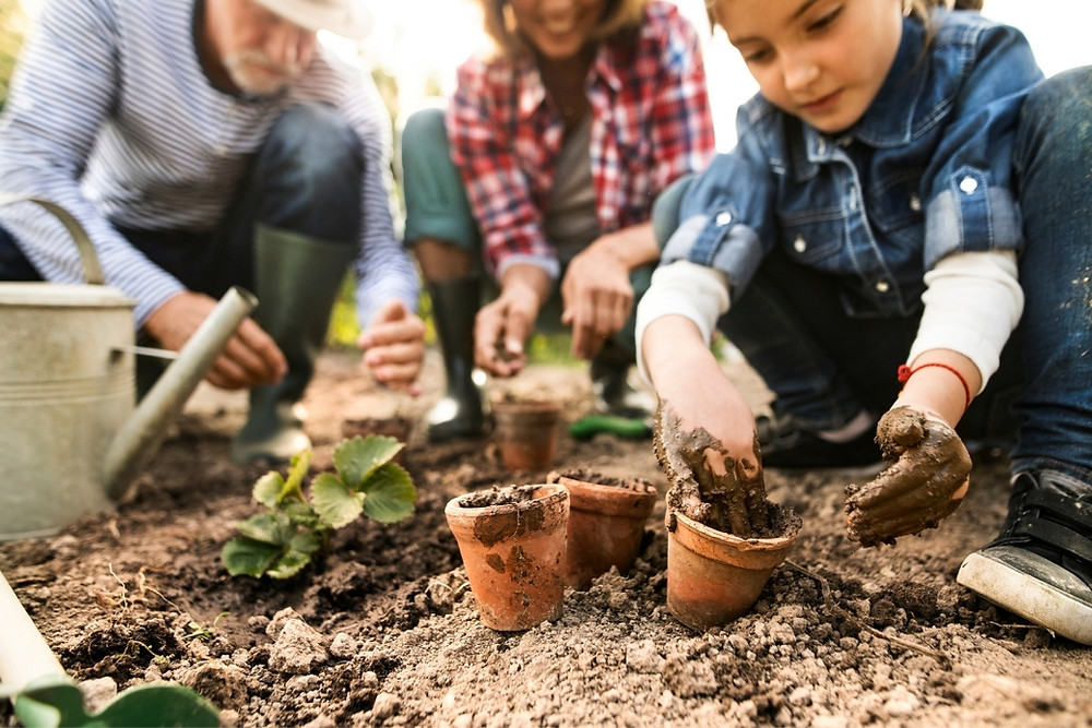 People of all ages gardening together