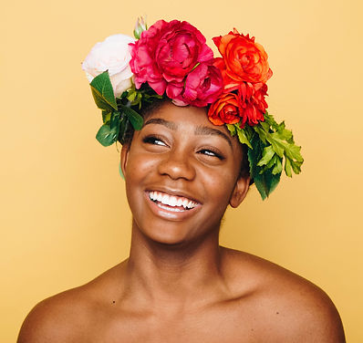 woman smiling with flower crown autumn-g