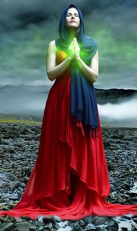 woman-illuminated-with-green-light-under