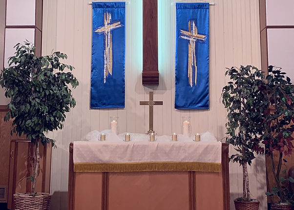 Altar for All Saints Day 2020 service at Salem United Methodist Church, Upper Falls, Maryland