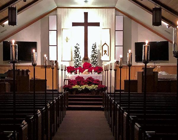 Christmas 2020 altar at Salem United Methodist Church, Upper Falls, Maryland