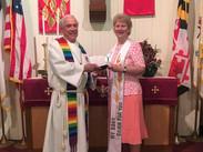 Interim Pastor Fred Crider welcomes Salem United Methodist Church Upper Falls new pastor Stacey Nickerson.