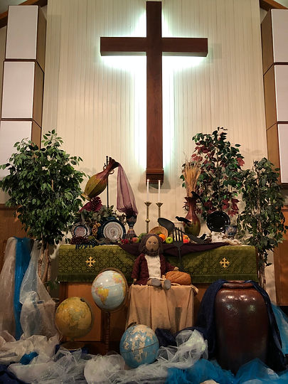 Altar for God's Meal Plan sermon series at Salem United Methodist Church, Upper Falls, Maryland