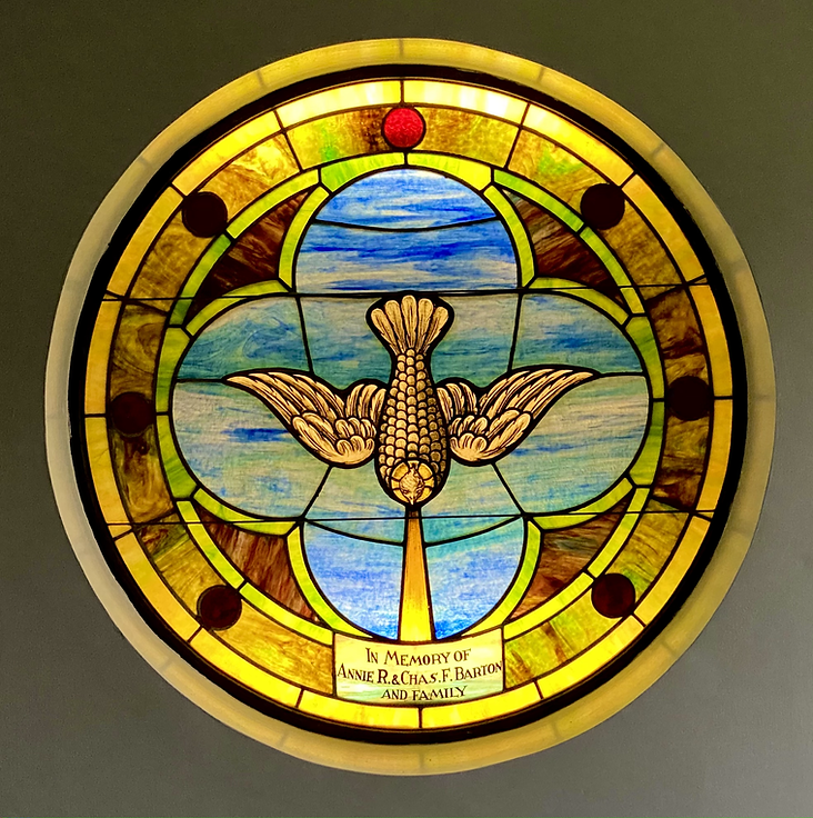 Stained glass in the chapel of Salem United Methodist Church Upper Falls, Maryland