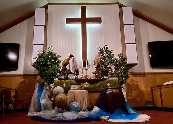Altar for God's Meal Plan sermon series at Salem United Methodist Church, Upper Falls, Maryland