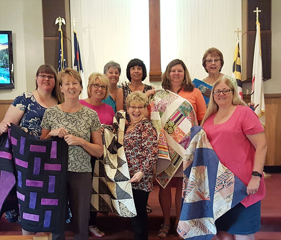 Members of the Sewing Samaritans at the blessing of the lap quilts at Salem United Methodist Church Upper Falls Md
