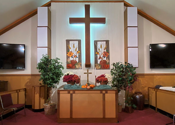 Altar for the Giving Thanks sermon series at Salem United Methodist Church, Upper Falls, Maryland