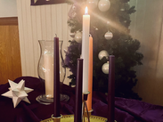 Advent candles on the altar