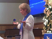 Pastor Stacey leads Christmas worship at Salem United Methodist Church Upper Falls, Maryland
