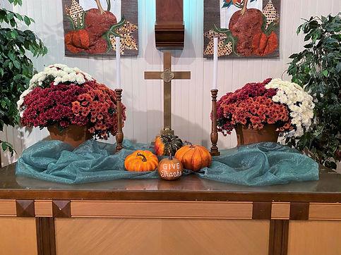 Thanksgiving 2020 altar at Salem United Methodist Church Upper Falls, Maryland
