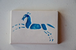 Tile with blue horse