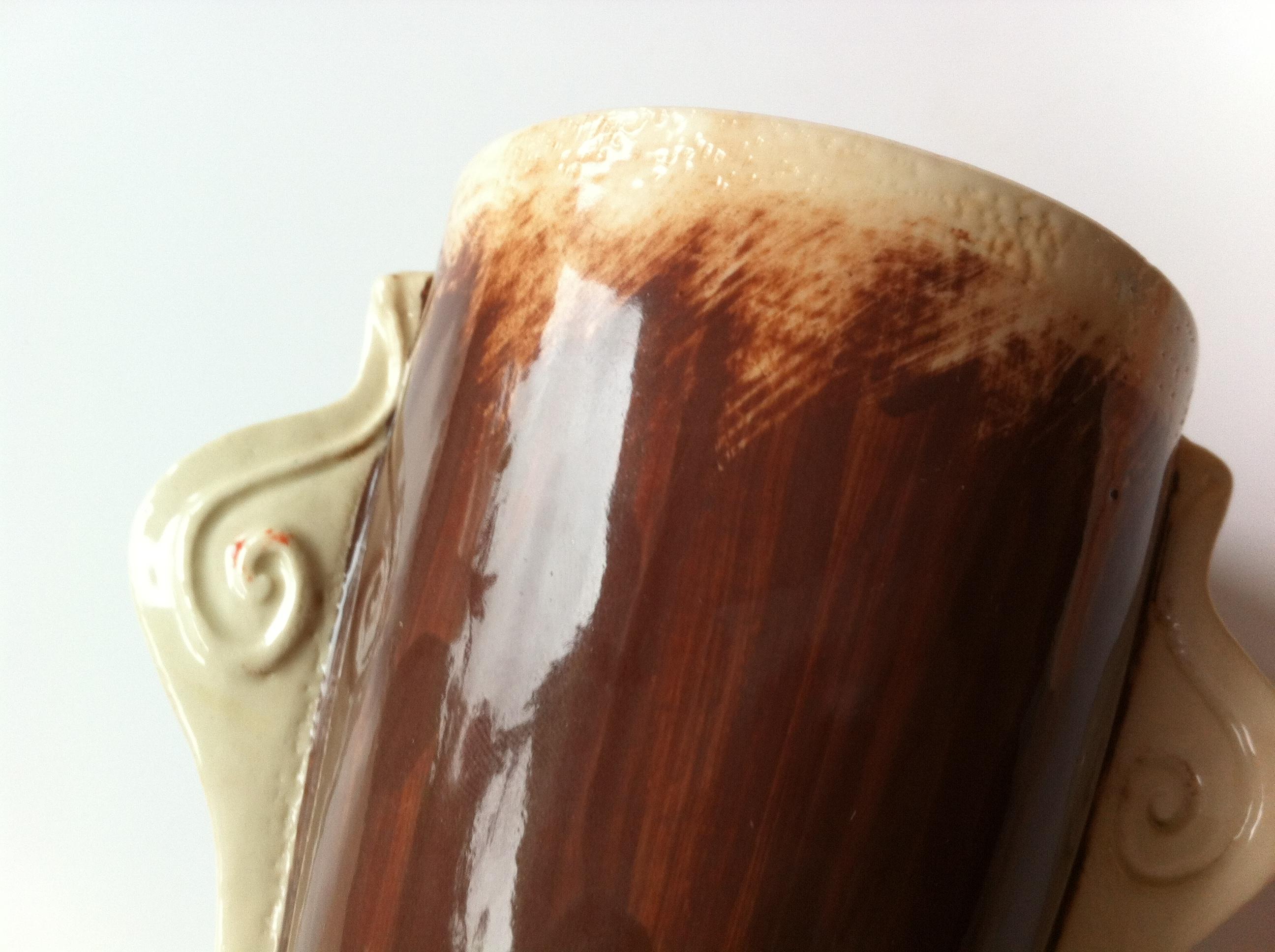 tea mug with snails, brown