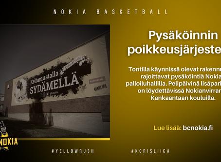 Pysäköinnin poikkeusjärjestelyt Nokian palloiluhallilla
