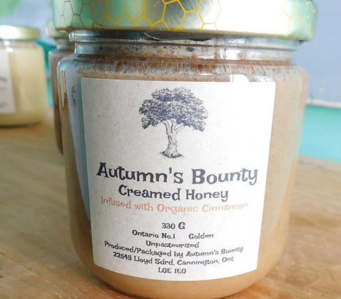 Infused with Organic Ciannamon Autumn's Bounty Creamed Honey