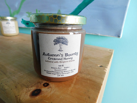 Infused with Organic Cocoa Autumn's Bounty Creamed Honey