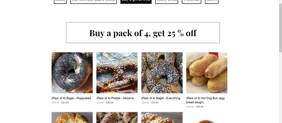 Buy 4 get 25% off in Lindsay and Omemee on cookies, pretzels, bagels....