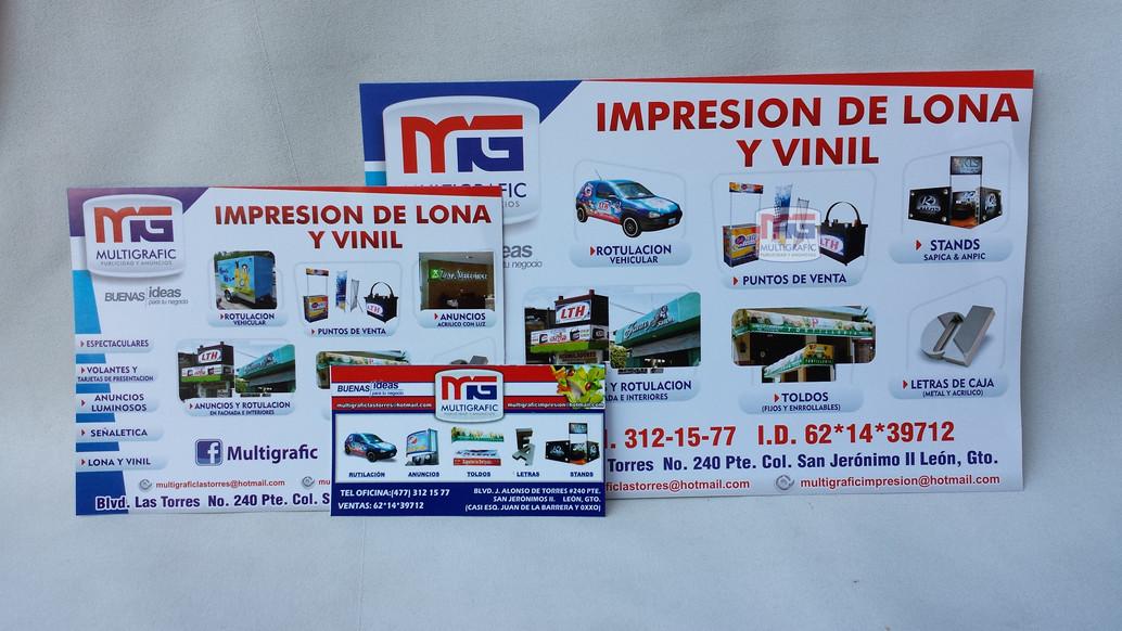 Tarjetas de presentaciòn, volantes tamaño carta y media carta