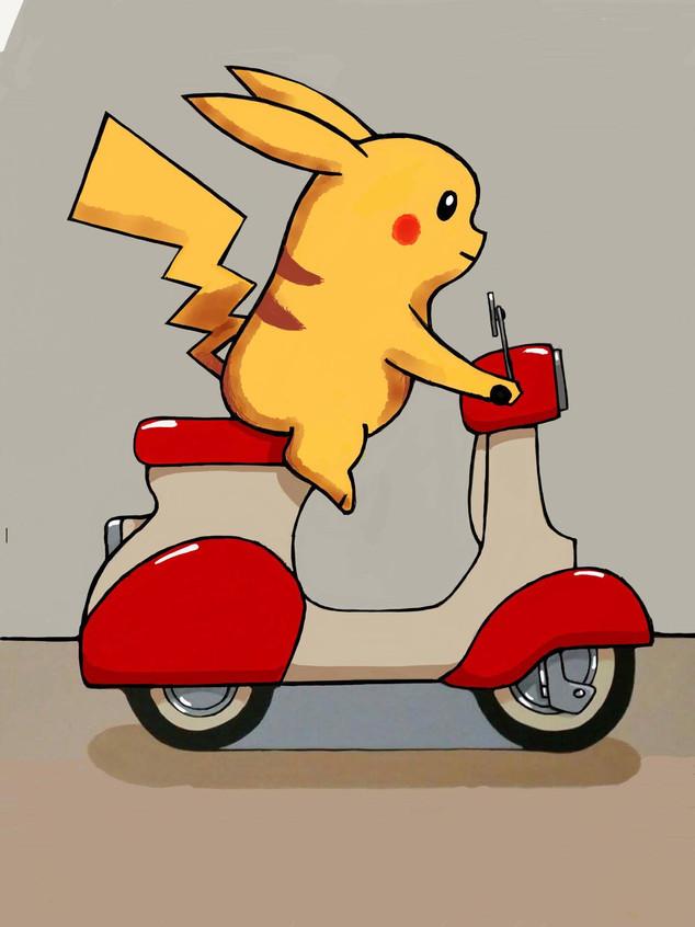 scooter kid pikachu