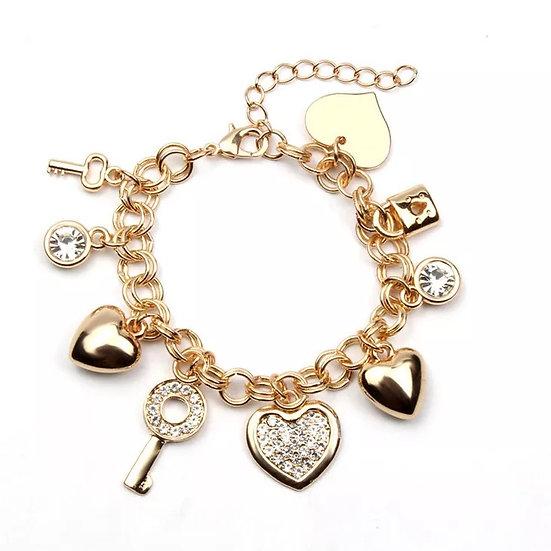 Bohemian Key Heart Bracelet