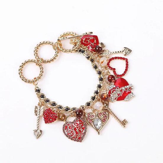 Red Heart Pendant Diamond Rhinestone