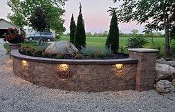 Landscape Lighting, Retaining Wall, Flower Bed