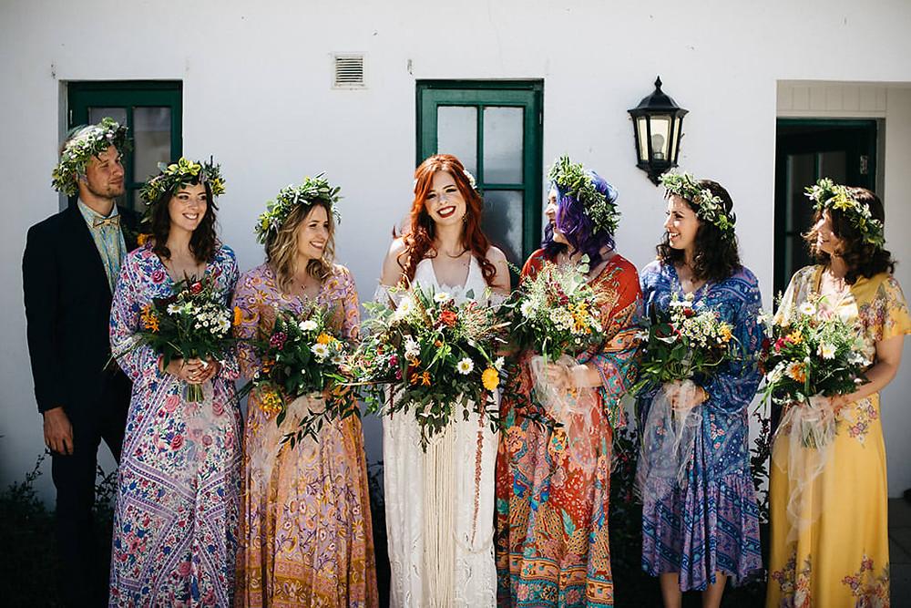 Summer solstice wedding, flower crowns and wild bouquets