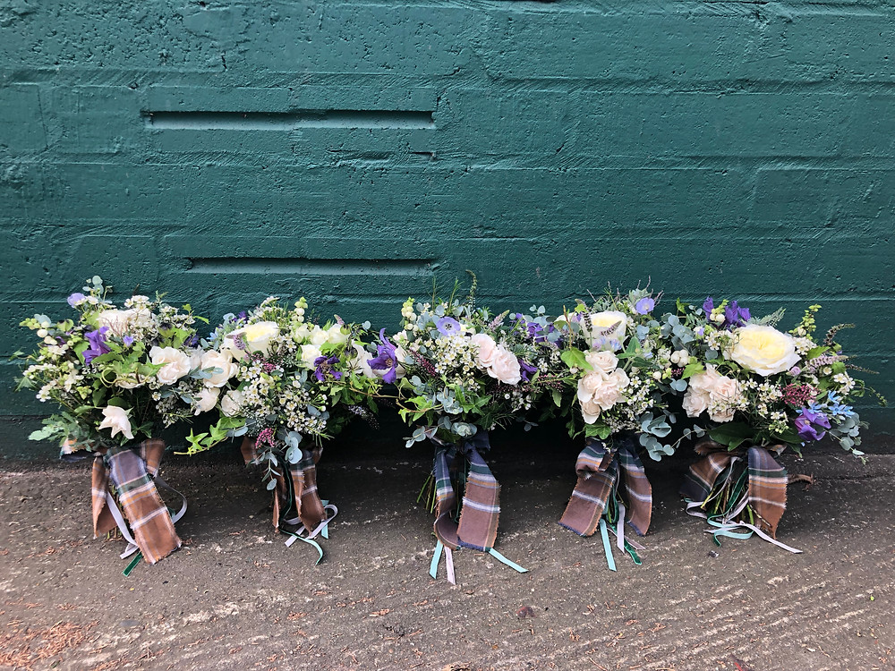 Bridesmaids bouquets with Manx Hunting Tartan fabric