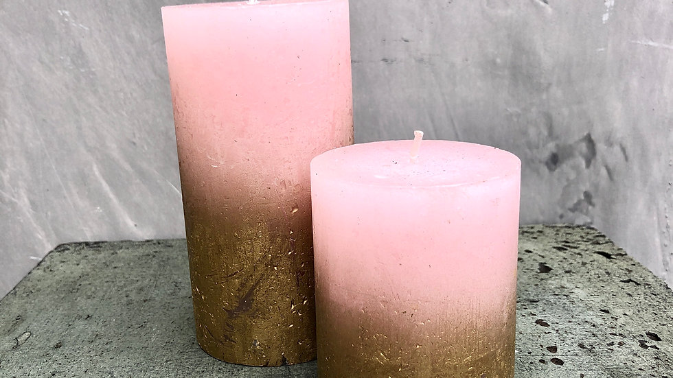 Pink & Gold Candle Set