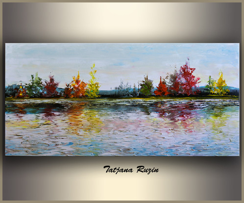 Abstract Landscape Lake In The Fall Original Oil Painting Ready For Shiping