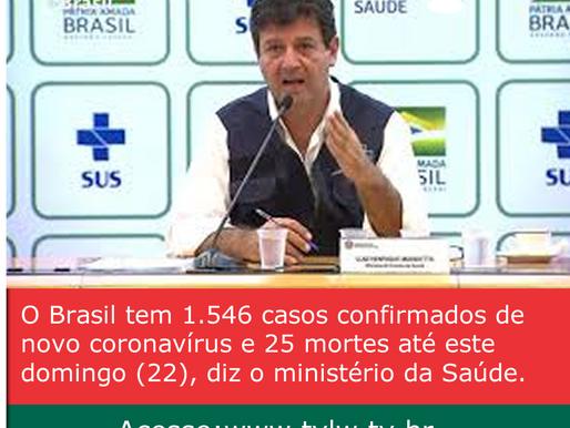 O Brasil tem 1.546 casos confirmados de novo coronavírus e 25 mortes até este domingo (22), diz o mi