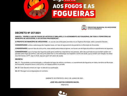 Prefeitura decreta proibição do acendimento de fogueiras e queima ou comercialização de fogos de art