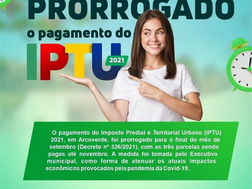 IPTU 2021: pagamento do imposto é prorrogado em Arcoverde