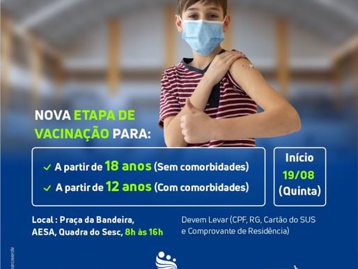 Arcoverde vai iniciar etapa contra a Covid-19 para pessoas a partir dos 12 anos, com comorbidades