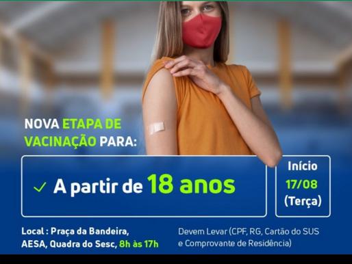 Arcoverde abre etapa da vacinação contra a Covid-19 para quem tem 18 anos ou mais