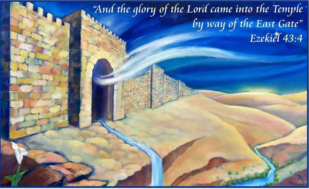 """Painting by Leigh: Titled: """"Ezekiel's Temple"""" - the return of the Holy Spirit / Ruach HaKodesh to the temple"""