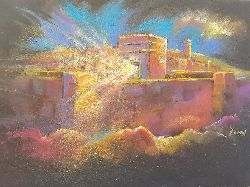 The New Jerusalem - Pastel on foam board