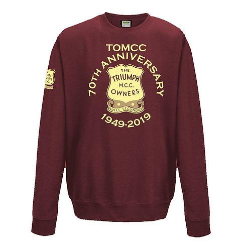 TOMCC Printed 70th Anniversary Sweatshirt. £22 + P&P