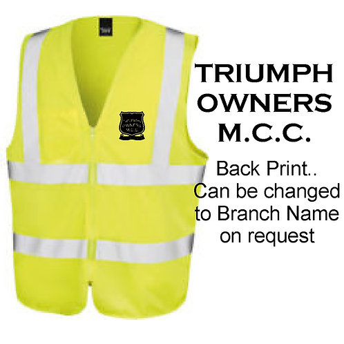 TOMCC Zipped Hi-Vis Vest . £18 + P&P