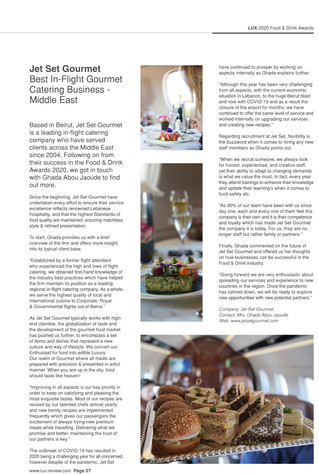Jet Set Gourmet, best in-flight gourmet catering business