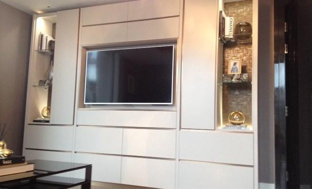 White Gloss TV Unit With LED Lighting