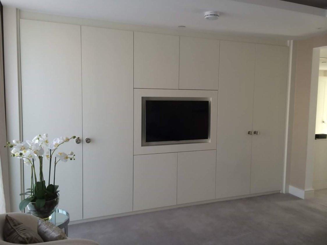 Platium White Wardrobe With Built-in TV