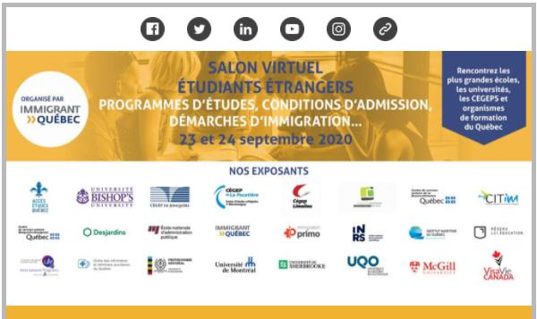 Salon virtuel « Étudier au Québec » Programmes d'études – conditions d'admissions – démarches d'immi