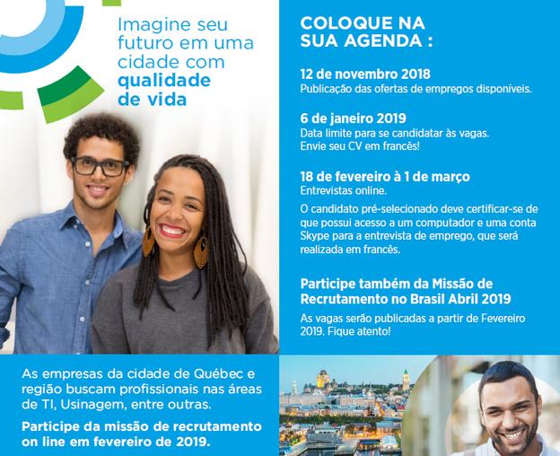 Novas vagas de trabalho nas áreas de TI, Usinagem e Saúde no site Québec na Cabeça!