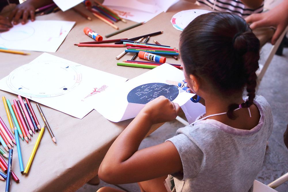 Culture Camp participant making an Kumeyaay/Diegueño constellation chart.