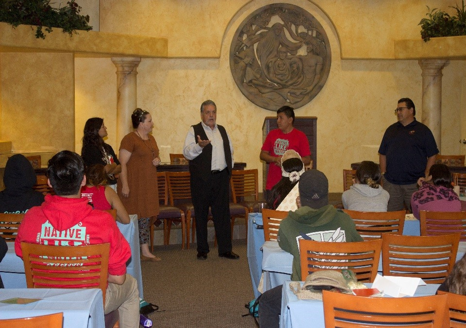 Young Native Scholars participated in a mock council meeting while on their tour of the Museum.  Barona's Tribal Council Chairman Romero and Vice Chairman Welch teach the future leaders how to facilitate a council meeting.