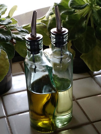 Olive Oil (darker) and Vegetable Oil (lighter)