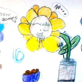 """""""Spaghetti Flower"""" Emily Quinones- Gr. 4"""