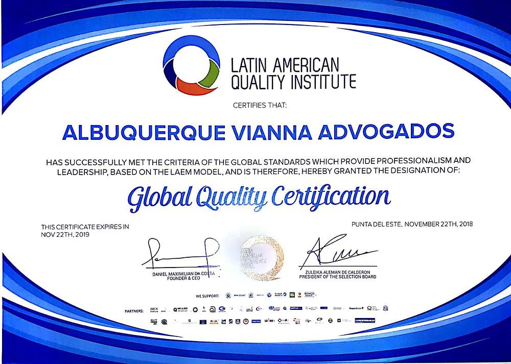 Latin American Quality Awards 2018 - Albuquerque Vianna Advogados