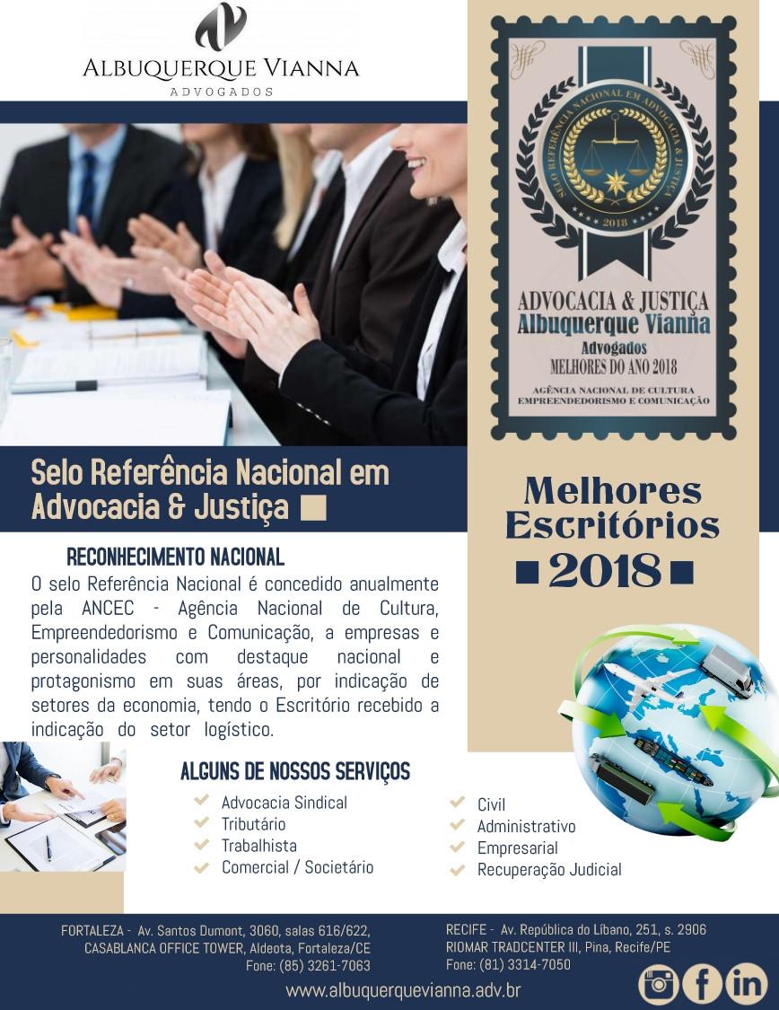 Selo Referência Nacional em Advocacia & Justiça - Melhores 2018